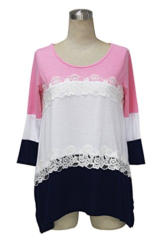 Sweetauk maglietta da donna casual a fasce, manica 3/4, girocollo, tunica Pink
