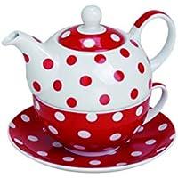 Tetera con taza de té y platillo plato TEA FOR ONE rojo de lunares de porcelana Set de 15 x 14 cm