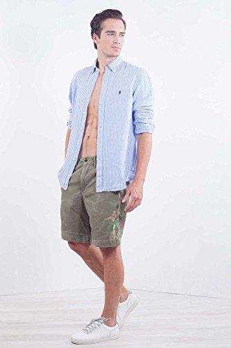 Polo ralph lauren uomo - camicia a maniche lunghe in lino azzurro a righe - taglia l