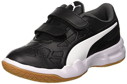 Puma Unisex-Kinder TENAZ V JR Multisport Indoor Schuhe, Schwarz Black White-Iron Gate-Gum 01, 36 EU
