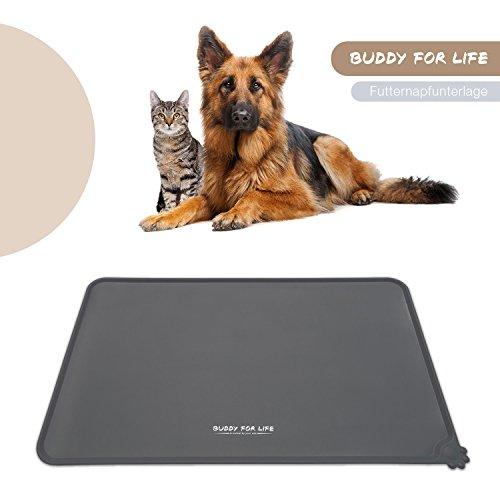 Buddy for Life * Premium Napfunterlage Silikon, Futtermatte für Hund & Katze (Schmutzfang, Rutschfest & wasserdicht) | Futternapfunterlage & Futtermatte geprüft nach LFGB Standard (grau)