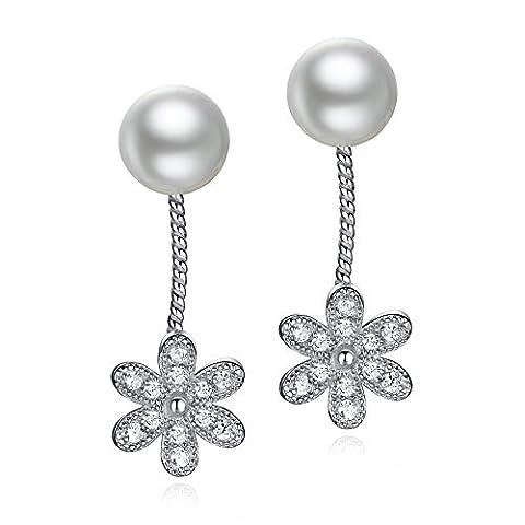 Boucles d'oreilles clous en argent sterling 9257mm perle d'eau douce naturelle Chrysanthème