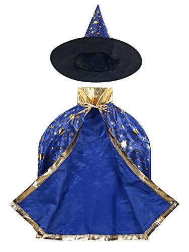 iixpin Kinder Halloween Kostüm Set - Zauberer Hexe Umhang Kap Robe mit Glitzer Stern Druck und Hut für Jungen Mädchen Hexen Cosplay Kostüm Blau (Sterne Mädchen Kostüm)