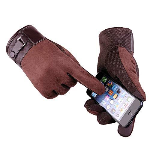 LOUMVE Wildleder Touchscreen Herrenhandschuhe Outdoor Reiten Anti Rutsch Kalt Warme Handschuhe Winter Coffee Freie ()