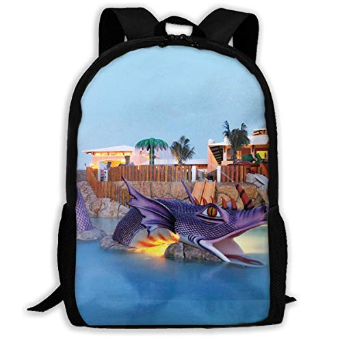 Purple Dragon in Swimming Pool Unisex Adult Custom Rucksack,School Leisure Sports Book Bags,Durable Oxford Outdoor College Laptop Computer Shoulder Bags,Lightweight Travel Tagesrucksäcke