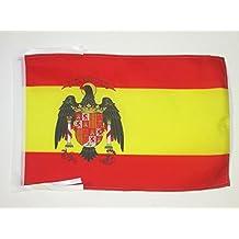 BANDERA de ESPAÑA 1977-1981 45x30cm - BANDERINA ESPAÑOLA CON AGUILA 30 x 45 cm cordeles - AZ FLAG