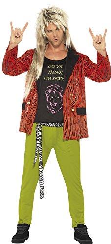 Smiffys, Herren 80er Rock Star Kostüm, Jackett, Hose und Oberteil, Größe: XL, (Star Rock Erwachsene Kostüme Ideen Für)