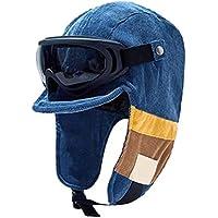 CLFYOU Gorro de invierno con orejeras, cálido y resistente al viento, gorra de nieve desmontable para gafas piloto