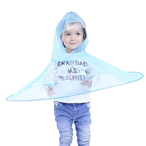 Regenmantel Kinder, Netter Regen-Mantel UFO-Kind-Regenschirm-Hut-Magische Hände Geben Regenmantel gaddrt (Blau)