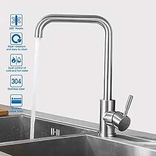 KINSE 360°drehbar Wasserhahn Küche Einhebelmischer Spültisch Armatur Küchenarmatur Spültischarmatur Spülbecken Wasserkran Mischbatterie Spüle für Küchen