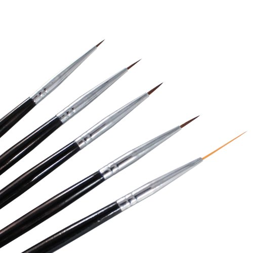 Winstonia 5 pcs Professional Nail Art Set Liner + Striping Brushes for Short Strokes, Details, Blending, Elongated Lines etc by Winstonia