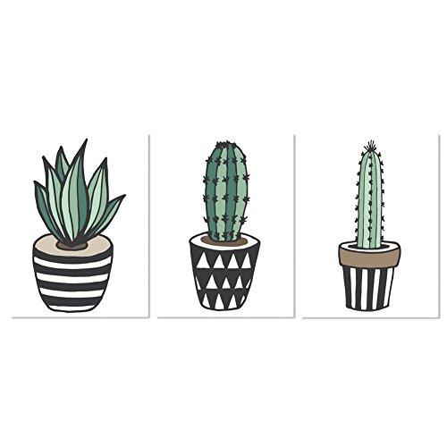 Lzndeal 3 Panel Cactus Lienzo impresión Mural Arte