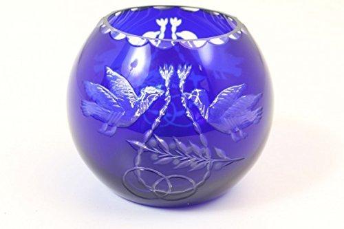 vintage13.de Kugelvase Vase Blau Kristall Biedermeier 19. Jh. Hochzeit Tauben Original Antik