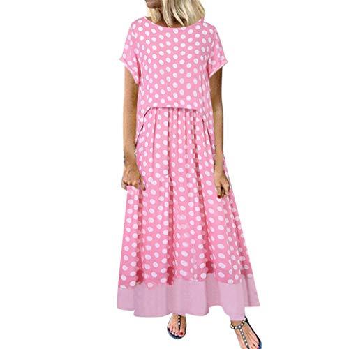 Yvelands Damen langes Kleid Sommer gestreiften O-Ausschnitt Kurzarm Plus Size Casual Dress(Pink1,XXXXL)