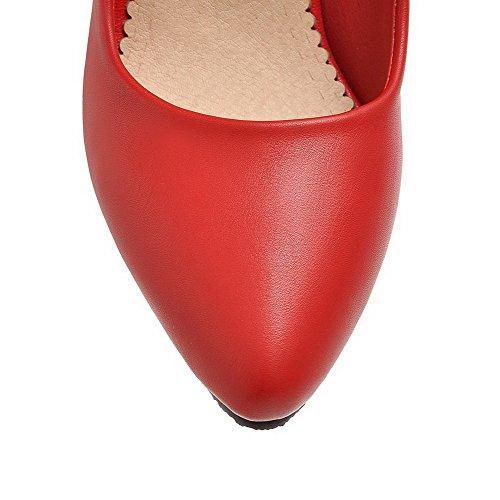 VogueZone009 Damen Ziehen Auf Spitz Zehe Pu Leder Eingelegt Pumps Schuhe Rot