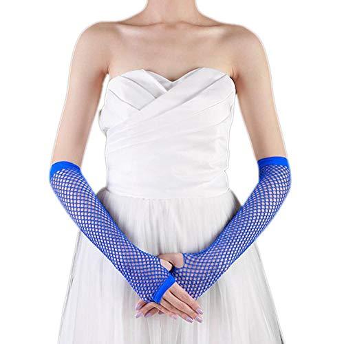Skang handschuhe Fäustlinge Punk Goth Lady Disco Dance Kostüm Spitze Fingerlose Mesh Netzhandschuhe BU Blau