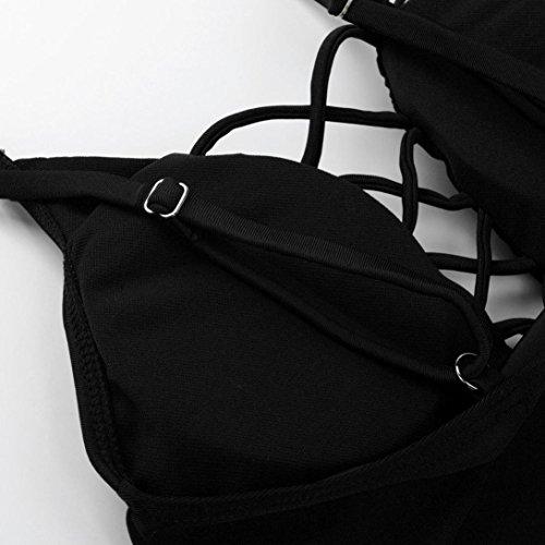 YunYoud Frau Bikini Einteilige Bademode Bandage Push-Up gepolstert Badeanzug Schwarz