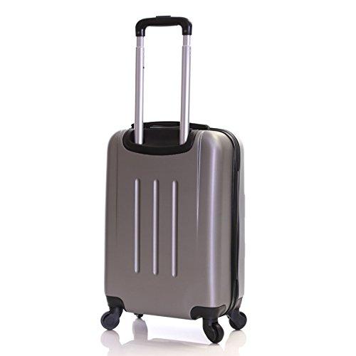Slimbridge Ferro 55cm hart 4 Rädern Kabine Koffer, Schwarz Silber
