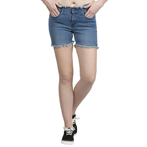Estrolo Frayed Hem And Waist Blue Women's Shorts