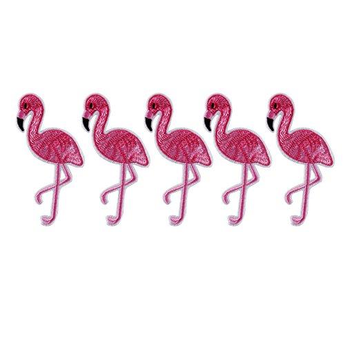 (huixun 5x Pink Flamingo Vogel Animal Eisen auf Patch bestickte Applikation Nähen Patch Kleidung Aufkleber Garment DIY Bekleidung Zubehör)