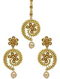 Bindhani Traditional Gold-plated Bridal Mang Maang Tika Tikka Earrings Jewellery Set for Teen Girls and Women