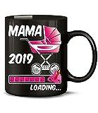 Golebros Geschenk für werdende - Mama 2019 Loading 6222 Schwangerschaft Geburt Baby Mädchen Babyparty Tasse Becher Kaffeetasse Geschirr Schwarz AD Pink