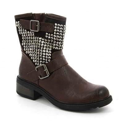 Ideal Shoes - Bottines montantes ornées de strass effet cloutée avec boucles de ceinture Berlin Marron 41