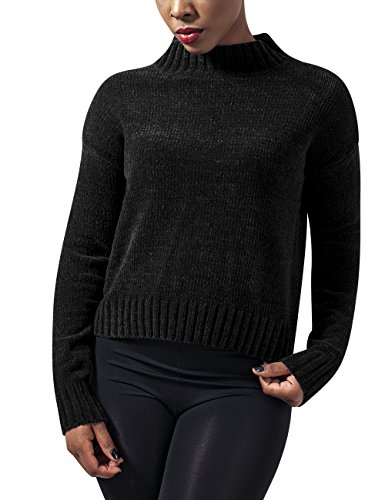 Urban Classics Damen Pullover Ladies Chenille Turtleneck Crew, Schwarz (Black 7), Medium (Schwarze Chenille-pullover)