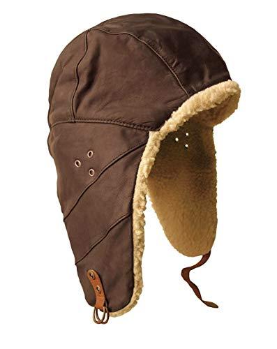 Kakadu Traders Flieger-Mütze Wintermütze Flying Doctor aus Leder mit Teddyfell - Herren Damen Größe L Braun