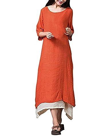Hippolo Femme Vintage Boho Sen Girl Half manches A-Line décontracté Courroie Long Maxi robe 5XL Orange