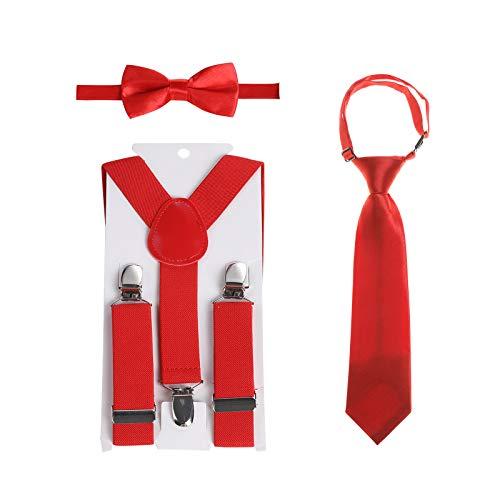 Kinder Hosenträger Fliegen Krawatten Sets - Einstellbar Elastisch Klassisch Hosenträger Fliegen Set für 6 Monate alte - 13-jährige Jungen & Mädchen (Rot, 80 cm(6 Jahre alt - 5 Fuß hoch))