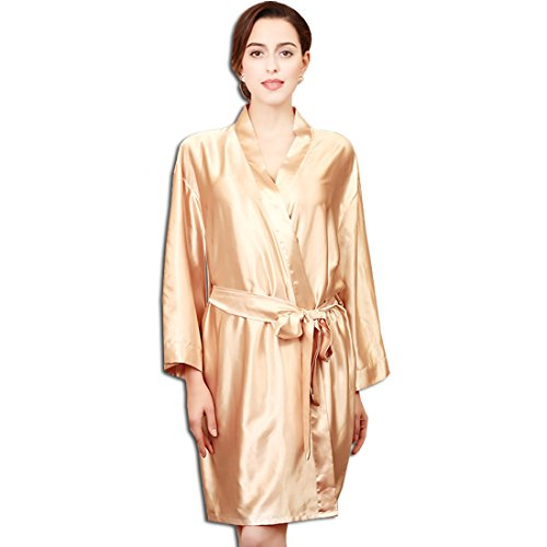 KAXIDY Damen Kimono Morgenmantel Satin Nachtwäsche Seidenrobe Schlafanzug Nachthemd Bademantel (Champagner)