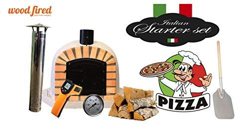 Grey Deluxe Corner Extra Wood Fired Pizza Oven Starter Kit, Orange Arch, Black Door, 100cm x 100cm