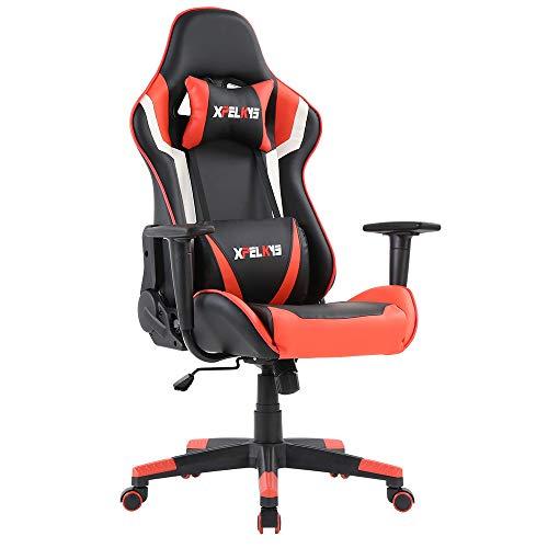 Roter Stoff Stuhl-spiel (XPELKYS Gaming Stuhl PC Racing Gaming Sessel Bürostuhl Schreibtischstuhl mit Verstellbaren Rückenlehnen (Rot/weiß/schwarz))