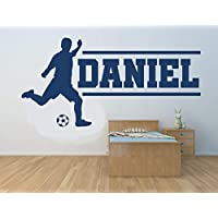 Nombre personalizado, futbolista, vinilo decorativo de pared, mural, calcomanía. Hogar, decoración de la pared. Dormitorio infantil, sala de juegos. Deportes fútbol