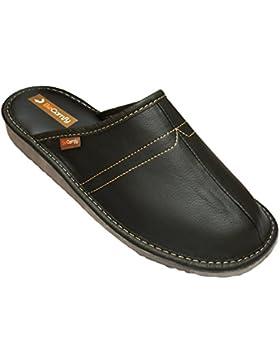 BeComfy Herren Hausschuhe Leder Pantoffeln Geschenkkarton (Wahlweise) Modell FM82