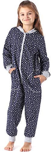Merry Style Mädchen Schlafstrampler Strampelanzug mit Kapuze MS10-223 (Marine Sterne, 134-140)