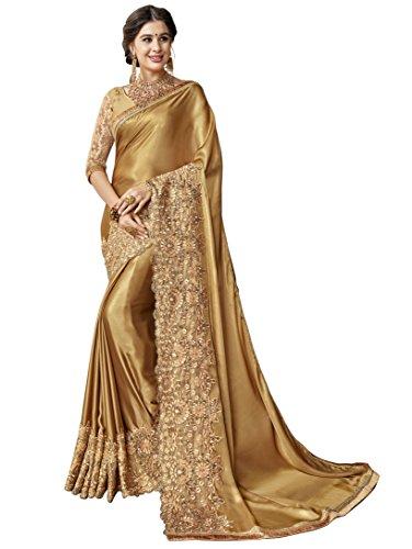 Triveni Georgette Artsilk Goldene Golden Festival tragen traditionelle Saree bestickten Saris