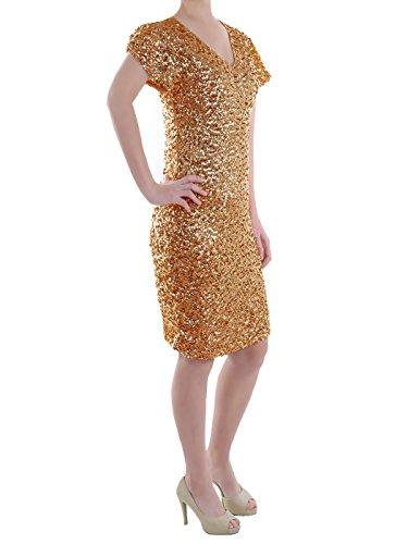Anna-Kaci Frauen Sparkly Glitzer Pailletten Kurzarm V-Ausschnitt Bodycon Mini club Kleid Gold