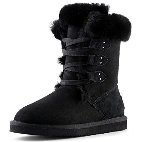 Stivali da neve invernali delle ragazze cinghie Nel tubo Stivali femminili Da donna inverno stivali da neve Black