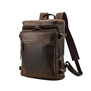 41u6p2%2BlCzL. SS300  - Leathario Mochila Tipo Caual Escolar Hombre Cuero Autentico Marron de Mano Backpack Laptop para Portátiles y Netbooks