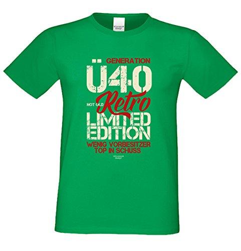 Generation Ü40 Trendiges Herren-Fun-Sprüche-T-Shirt - Geburtstagsgeschenk Weihnachtsgeschenk - Geschenk für Männer Farbe: hellgrün Hellgrün