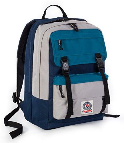 ZAINO INVICTA - DUFFY - Blue Azzurro Grigio - tasca porta pc e Tablet padded - scuola e tempo libero 30 LT