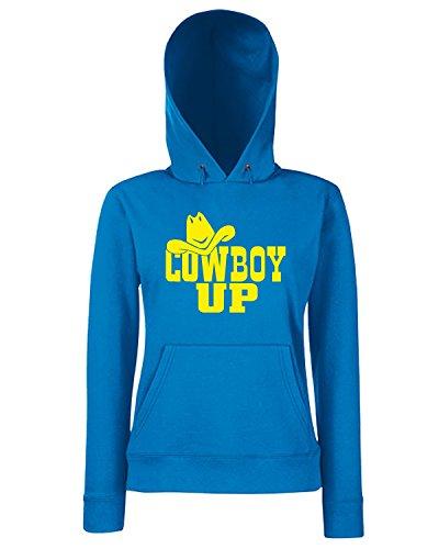 T-Shirtshock - Sweats a capuche Femme FUN1060 cowboy up diecut vinyl decal 07253 Bleu Royal