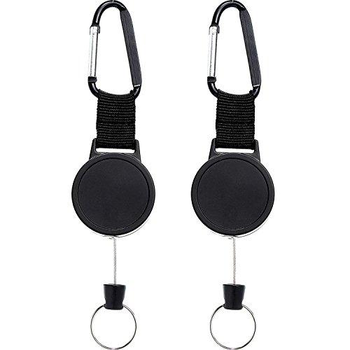 2 Stücke Schwere Einziehbare Schlüsselanhänger Ausweisinhaber Kletterhaken mit 64cm Stahlseil, Schwarz