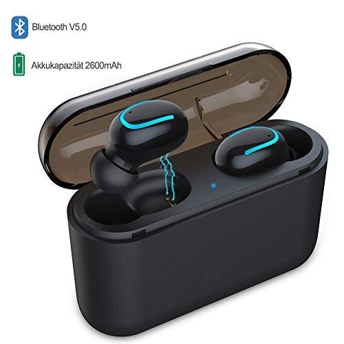 Bluetooth Kopfhörer Kabellos In Ear Sport Bluetooth 5.0 Wireless Ohrhörer mit Ladebox 2600 mAh 60 Stunden Spielzeit IPX5 Spritzwasserfest Mikrofon für Fitness Workout Jogging (Schwarz)*