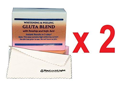 2-x-premium-sbiancante-peeling-sapone-w-glutatione-e-acido-di-koji-rosa-canina-certificato-per-pelli