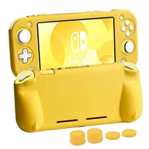 CHIN FAI für Nintendo Switch Lite-Hüllen, Softgrip-Hülle mit praktischen ergonomischen Griffen für Nintendo Switch Lite 2019 [Selbstständer] [4 Thumb Stick Caps][Gelb]