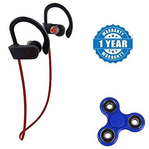 Blu Life Mark Compatible Certified Professional Bluetooth 4.1 Wireless Stereo Sport Headphones with New Fidget Hand Spinner for Fun, Anti-Stress, Focus, ADHD, Anxiety & Autism(1 Year Warranty)