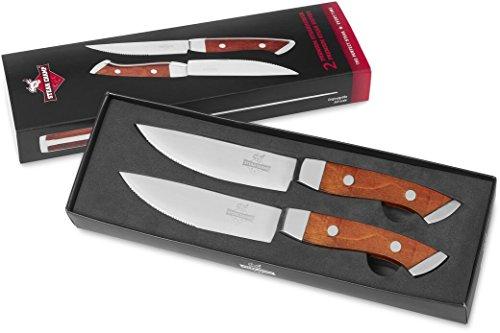 #SteakChamp Steak Champ SC 820668 Messer mit Holzgriff, 2er Set, Holz, silber, 28.5 x 8.8 x 2.5 cm#